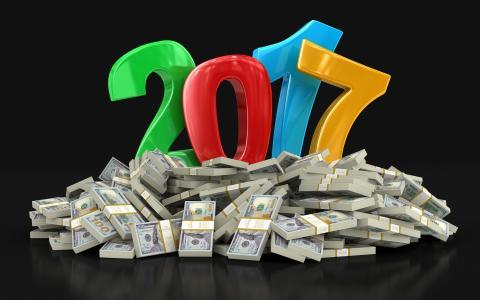 希望,包,财富,美元,2017年,新年,纸币,背景,符号,日期,帐单,货币,钱,假期