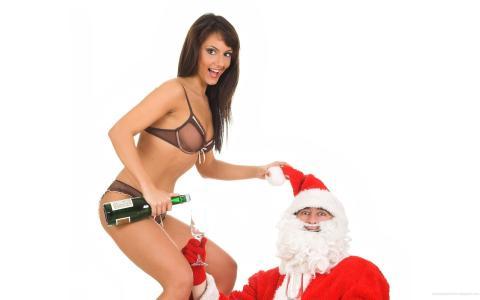 女孩,圣诞老人