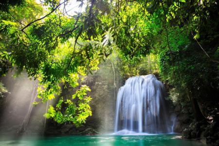 太阳,泰国,北碧,树木,性质,瀑布