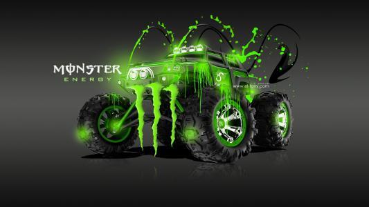 托尼科汉,绿色,怪物能源,Traxxas峰会,卡车,绿色,酸,塑料,饮料,埃尔托尼汽车,Photoshop,托尼·科汉,Photoshop,怪物能源,塑料,绿色,风格,壁纸,201
