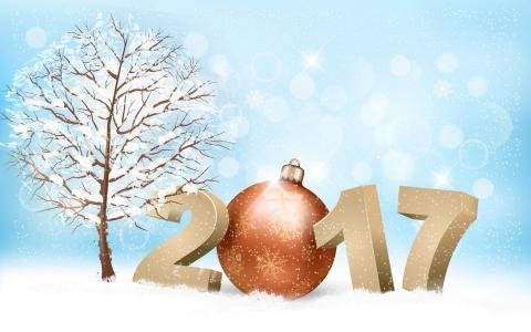 新的一年,2017年,假期,树,雪,眩光,雪花