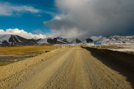 通往高处的路,吉尔吉斯斯坦,亚洲,春天,高山,日落,阿拉贝尔山谷,阿列克谢·奥博罗托夫
