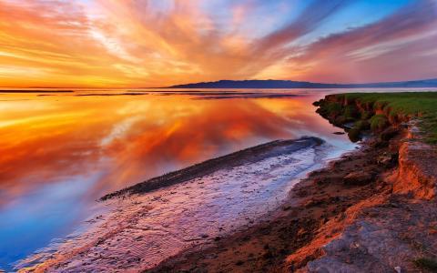 景观,日落,水,岸,性质,美丽的壁纸为您的桌面,海洋,海,查看,地方