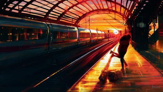 车站相拥的情侣手绘