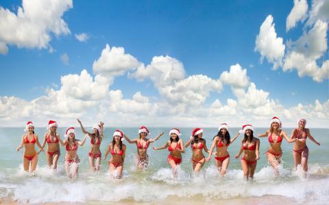 圣诞节,模型,性感,海滩