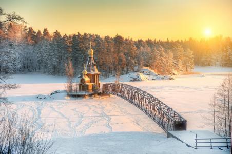 Eduard Gordeev,自然,冬天,雪,森林,河流,Vuoksa,教堂,桥梁