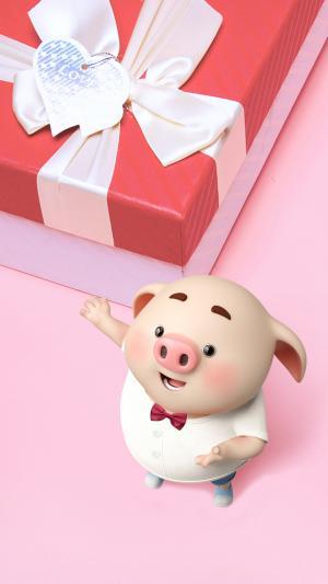 礼物旁边的可爱猪小屁