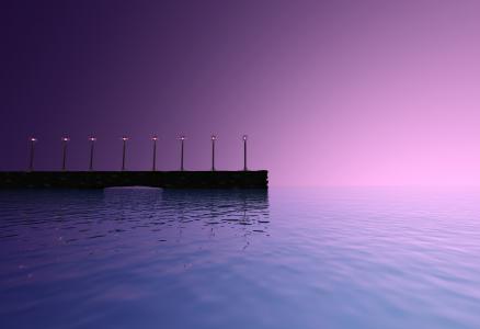 海,跟我走,日落,灯,码头
