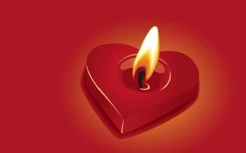 蜡烛,心脏,爱的火焰,红色背景