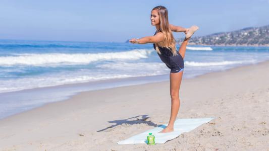 瑜伽,沙滩,模型,姿势,屁股