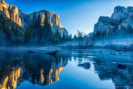 冬季森林,湖泊,山脉