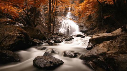 瀑布,山,河,树,秋天