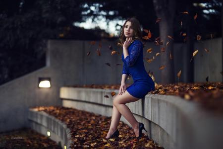 女孩,模型,棕发,礼服