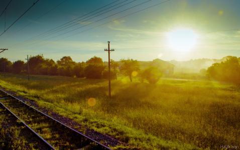 日落,大自然,铁路