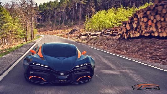 拉达,乌鸦,概念,2014,汽车,道路,速度,森林,树木,拉达,乌鸦,道路,速度,森林,树木