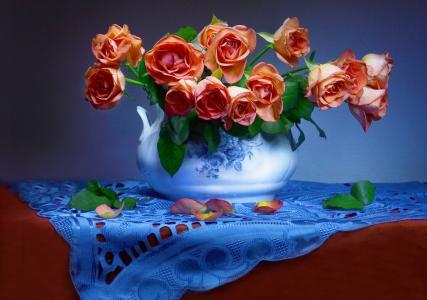 瓦伦蒂娜Kolova,鲜花,玫瑰,餐巾,花瓶,叶子,花瓣