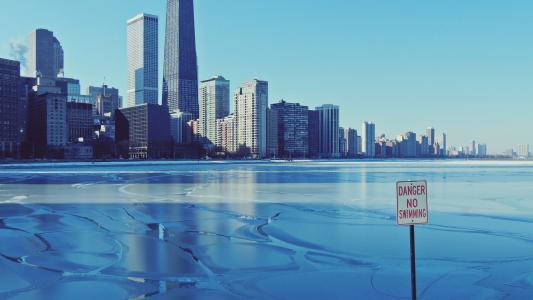 冬日里的美国芝加哥