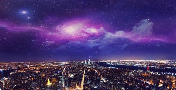 纽约,城市,晚上,灯光,天空,幻想