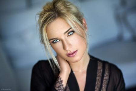 女孩,肖像,摄影师,Lods Franck,金发碧眼,蓝色的眼睛,看看