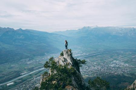 岩石,女孩,悬崖,高度,性质