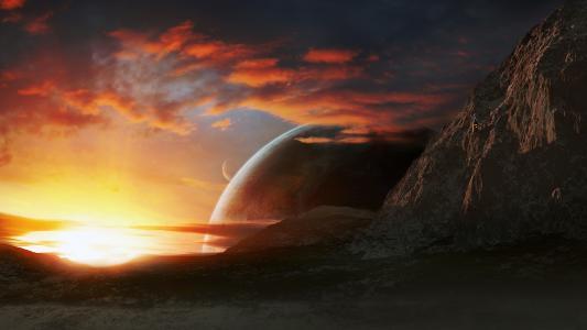 云,日落,山,星球