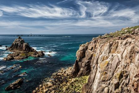 海洋,波浪,岩石