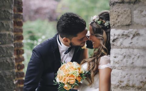 新郎,新娘,感情,爱,砖,墙,花束,鲜花