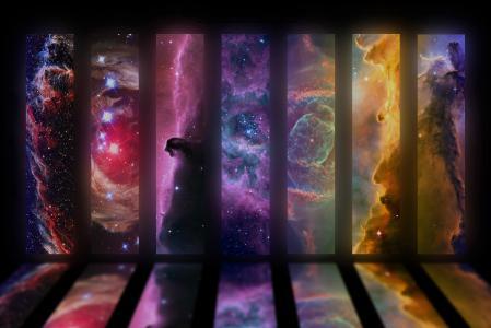 面纱星云,独角兽星云RCW 49,猫眼星云,猎户座星云,鹰星云,太空