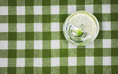 玻璃,桌布,柠檬,水,宏观