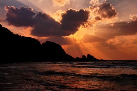 海,岩石,天空,日落,海滩,波,性质,云