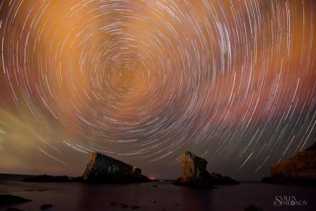 海,岩石,夜晚,天空,星星,形状,周期,影响,Svilen Simeonov
