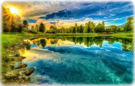自然,太阳,池塘,夏天,钓鱼,房子,反射