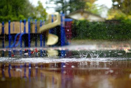 秋天,操场,宏,水坑,雨,喷雾