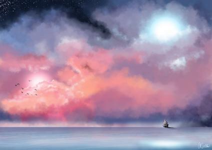 绘画,绘画,海,旗鱼,天空,云,星星,鸟,月亮,美丽