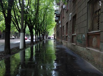 街道,城市,雨,水坑