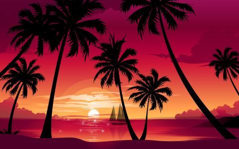 海,太阳,船,棕榈树,日落,海滩,性质