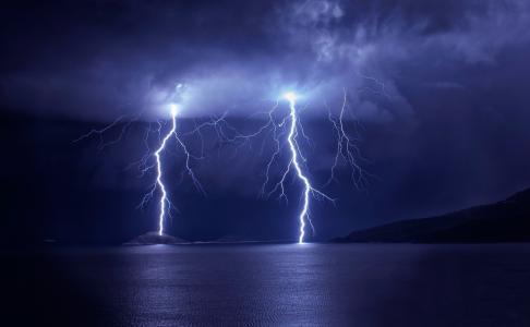 闪电,美丽,夜晚,放电,山,海