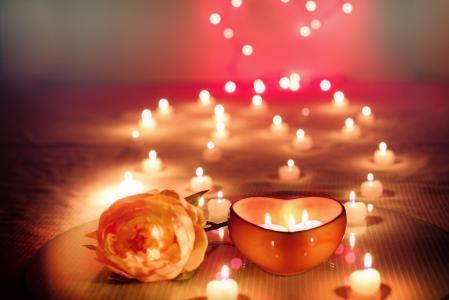 花,玫瑰,烛台,蜡烛,散景