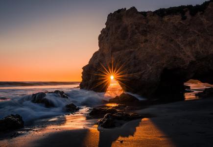 日落,大海,海浪,沙滩,El斗牛士,戴维