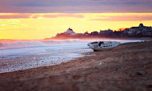晚上,岸边,船,沙子