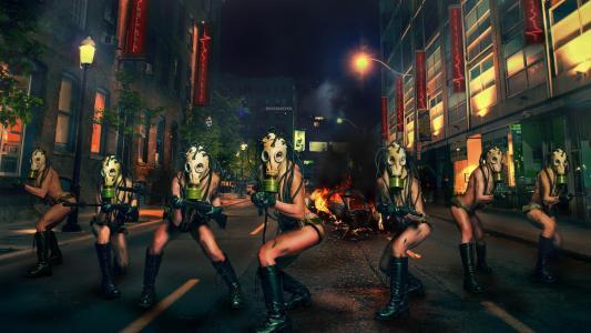 街道,女孩,武器,防毒面具