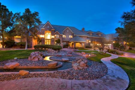 外部,房子,豪华,家,房子,房子,别墅,树,石头,小河,草,路径,灌木,风格