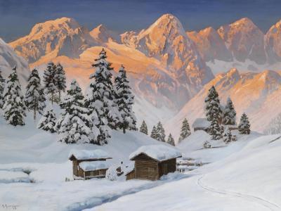 多雪,山,房子