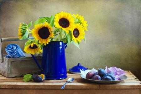 表,水壶,鲜花,向日葵,板,李子