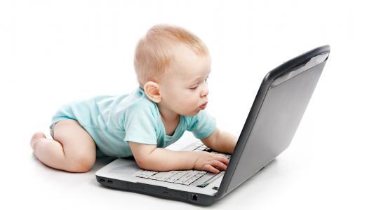 笔记本电脑,孩子,互联网