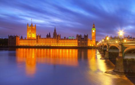 桥,伦敦,晚上,英格兰,大本钟,城市,建筑物,灯笼,英国,灯,河