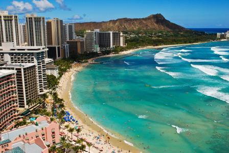 威基基,海洋,沙滩,海浪,沙滩,夏威夷