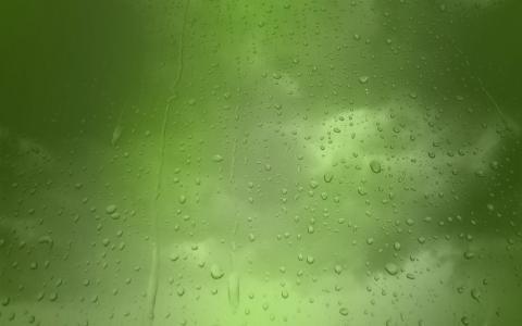 飞沫,绿色背景,雨