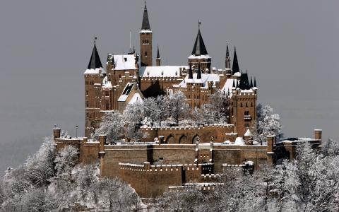 城堡要塞,山,德国,城市,斯图加特,冬天,雪