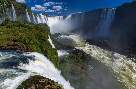 瀑布,性质,水,喷雾,美丽,热带地区,天空,云